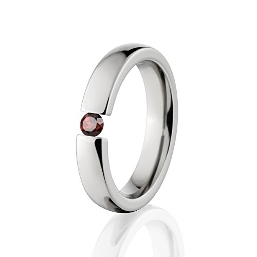 - Garnet Ring Titanium Tension Set Jewelry Stunning Garnet Band