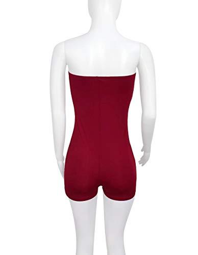 Fuera Party Plausuit Mono Moda Rojo Solid De Vino Hombro del ALIKEEY Sexy Mujeres tqOAxA
