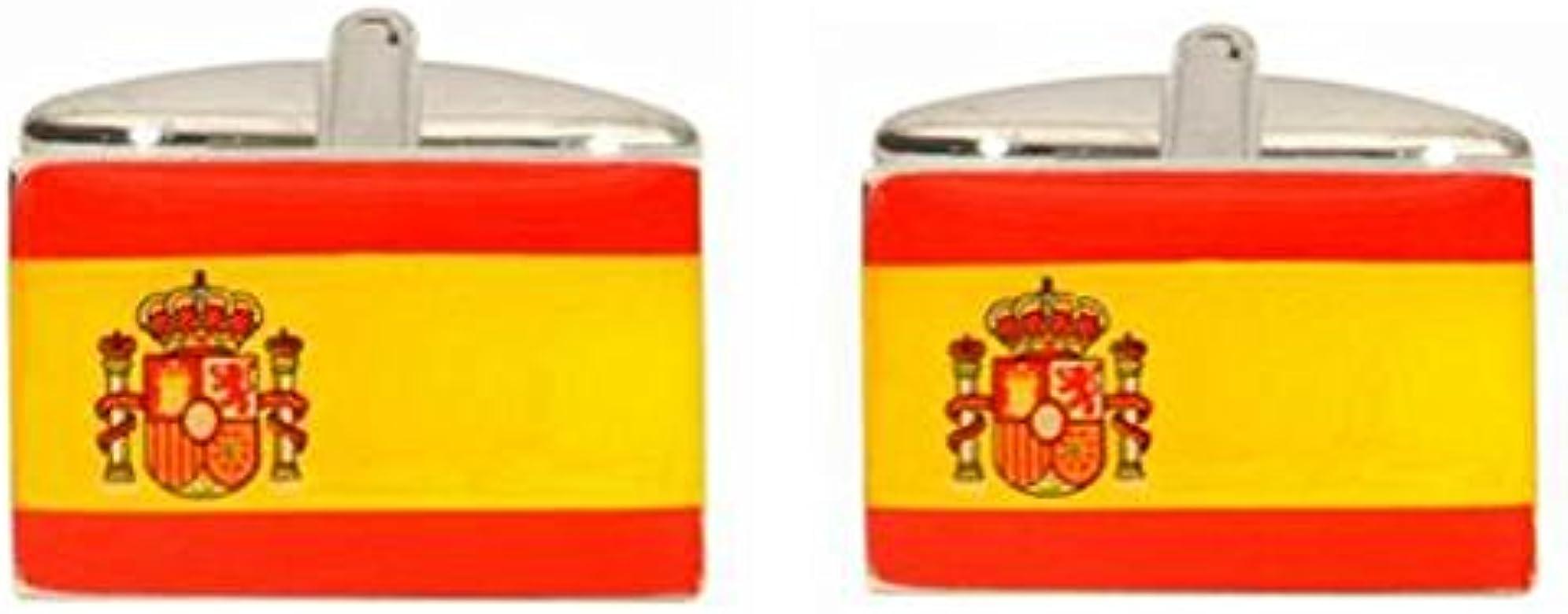 DLC Gemelos de rodio con Bandera de España: Amazon.es: Joyería