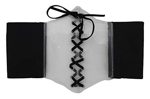 TFJ Women Bling Elastic Black Wide High Waist Corset Belt Clear Bling S M