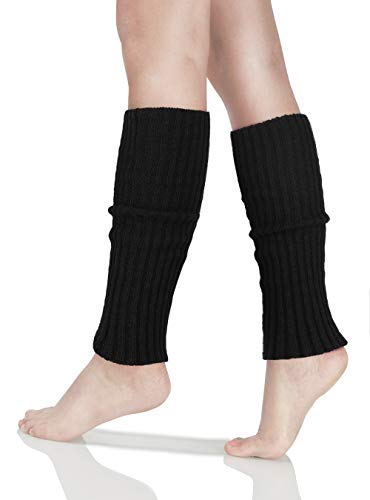 SIPU 81s Women Knit Leg Warmer Ribbed for Party Sports (Black)