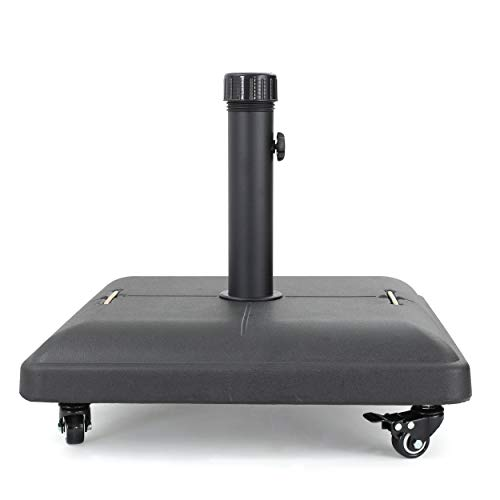Christopher Knight Home 300412 Hercules Concrete Umbrella Base with Wheels | Square | 80LBS | in Black