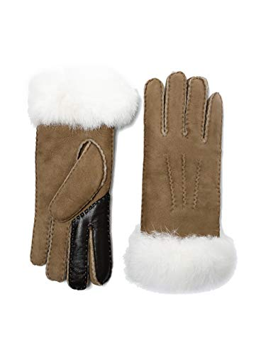 YISEVEN Women's Merino Touchscreen Sheepskin Shearling Leather Gloves Mittens Sherpa Fur Cuff Thick Wool Lined and Heated Warm for Winter Cold Weather Dress Driving Work Xmas Gifts, Camel Medium (Norwegian Mittens)