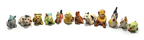 Mini Chinese Zodiac Animals ,12 Animals Chinese Zodiac Ceramic Dollhouse Miniatures Figurine set 12 pcs.