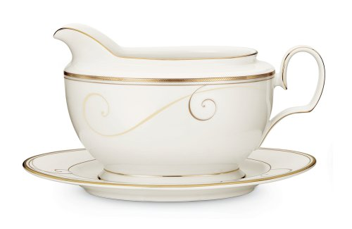 Noritake Golden Wave 2-Piece Gravy Boat with Tray