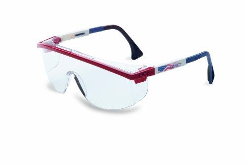 Uvex S1169C Astrospec 3000 Safety Eyewear, Red/White/Blue Frame, Clear UV Extreme Anti-Fog Lens -