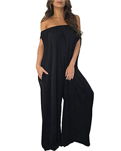Halfword Women's Off Shoulder Jumpsuits - Plus Size Wide Leg Pants Loose Long Rompers with Pockets ()