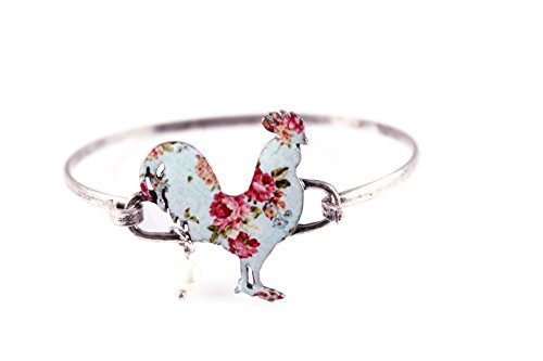 (Wonderent Rooster Shape Floral Western Bangle Bracelet with Pearl Bead Burnish Silver)