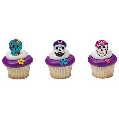 Skull Characters Cupcake Rings - 24 pc