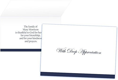 With Deep Appreciation Funeral Thank You Cards/Envelopes (Set of 50) (For Him)