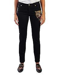 Gucci Women S Cotton Embroidered Tiger Applique Denim Jeans Pants Black