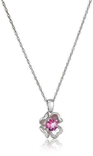 - Sterling Silver Created-Pink-Tourmaline and Diamond Accent Flower Pendant Necklace, 18