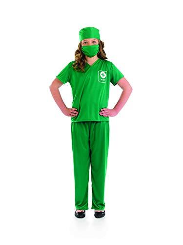 fun shack FNK3587L-US Kids Vet Costume Childrens Green Scrubs Animal Doctor Uniform - Large -