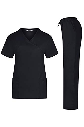 (MedPro Women's Solid Medical Scrub Set Tie Back Wrap Top and Pants Black XS)