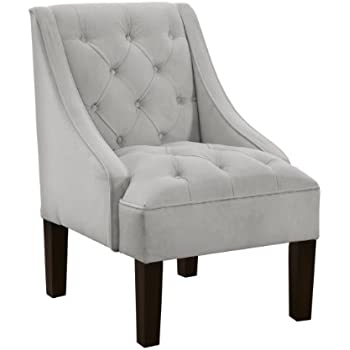 Delightful Skyline Furniture Tufted Swoop Arm Chair In Velvet Light Grey