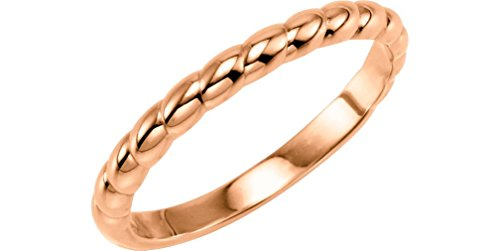Rope Trimmed Stackable 2.5mm 14k Rose Gold Ring, Size 8.5 by The Men's Jewelry Store (for HER)