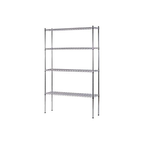Heavy Duty NSF Certified Chrome 4-Shelf Wire Shelving (74''H x 48''W x 12''D) commercial industrial restaurant garage storage organizer by Sandusky
