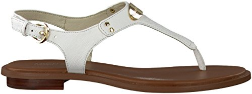 Michael Michael Kors Women's MK Plate Thong (7.5) Optical White (Michael Kors White Sandals)