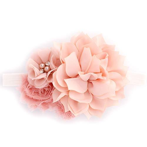 My Lello Headband Shabby Fabric Flower Cluster Baby - Infant - Toddler - Girl Stretchy Elastic Pink Blush
