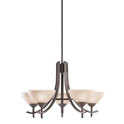 Kichler  1679OZ 5-Light Olympia Incandescent Chandelier, Old Bronze - 55-Inch maximum overall fixture height Two 12-Inch and two 6-Inch included stem segments allow for height adjustmen Provides a total of 300-Watt of dimmable light - kitchen-dining-room-decor, kitchen-dining-room, chandeliers-lighting - 31%2BslBkDjIL. SS400  -