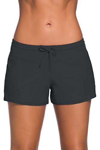 ZKESS Women's Basic Solid Sports Beach Bottom Swim Board Shorts XXL Size Grey