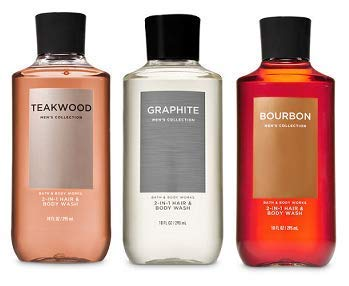 - Bath and Body Works 3 Pack 2-in-1 Hair + Body Wash Teakwood, Graphite and Bourbon. 10 Oz.