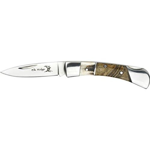 Elk Ridge Couteau de poche Hunter en acier inoxydable Pâtisserie Manche en bois de racine, longueur cm: 7,62fermé, elkr de 1072