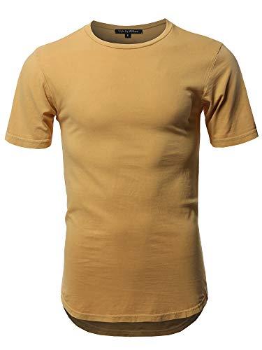 Basic T Shirt Casual Vintage Scoop Bottom Tee Mustard L