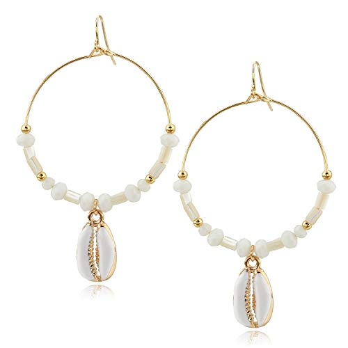 - Choker Cowrie Shell Earrings Sea Beach Hoop Earring Summer Jewelry for Girls Ladies (Shell Drop Earrings)
