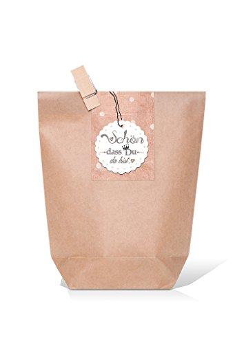10 braune Geschenktüten inkl. Holzklammer und Aufkleber rosa, grau, weiß gepunktet