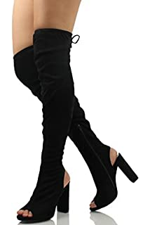 Amazon.com | Fashion Thirsty Womens Thigh High Boots Knit Stretch ...