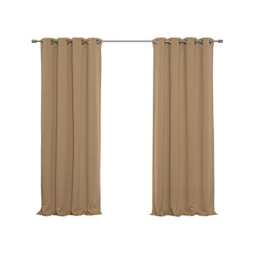 Best Home Fashion Premium Thermal Insulated Blackout Curtain - Antique Bronze Grommet Top - Wheat - 52