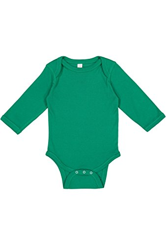 - Rabbit Skins Infant 100% Cotton Lap Shoulder Long Sleeve Bodysuit (Kelly, 12 Months)