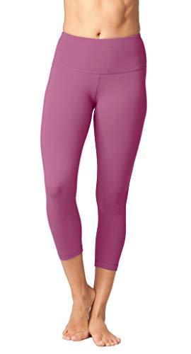 Yogalicious High Waist Ultra Soft Lightweight Capris - High Rise Yoga Pants - Plum Wine - XS
