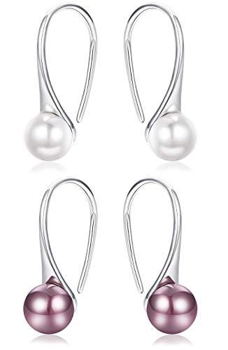 LOYALLOOK 2 Pairs 925 Sterling Silver Freshwater Pearl Earrings Fine Jewelry For Women Girls 8.5mm Nature Pearl Dangle Drop Earring Hooks Piercing