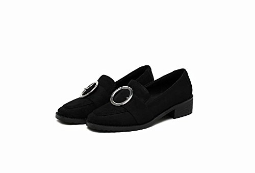 Show Shine Womens Metal Decoration Mid Heel Pumps Loafers Shoes Black