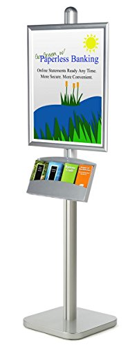 (Floor-Standing Sign Stand for 22x28 Posters, Includes 4-Pocket Literature Tray for 4x9 Brochures, Front-Loading Poster Frame, Aluminum & Steel (Silver) )