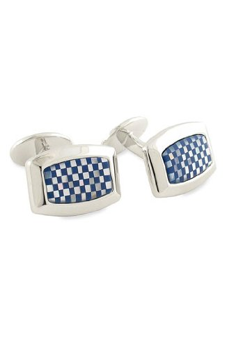 (David Donahue Sterling Silver and Mother of Pearl Checkerboard Cufflinks - Lapis Onyx (H95061602))