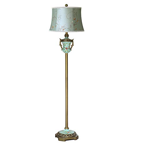 - XIANGYU Floor lamp Blue Trophy Embroidery Cloth Shade, E27 Brushed Vintage Gold Bronze Vertical Bedside lamp, Living Room Office Reading Light