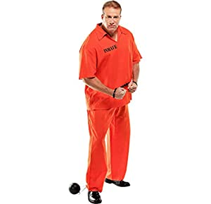 AMSCAN Inmate Convict Prisoner Halloween Costume for Men, Plus Size, with Included Accessories