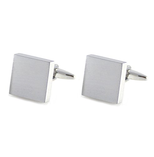 MENDEPOT Brushed Square Cufflink Rhodium Plated Brush Finish Square Cufflink (Silver)