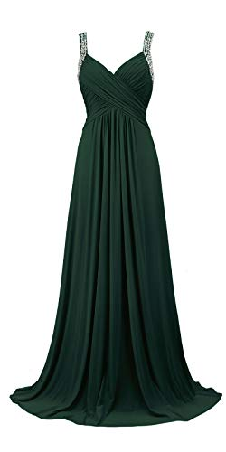 Conail Coco Women's Tulle Beading A-Line Bridesmaid Prom Dresses Long Cocktail Evening Gowns (3XL,77Green)