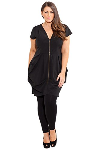 Front City Designer Size Tunic Zip Pleat Chic 24 XXL Plus Black p7pqtwzr