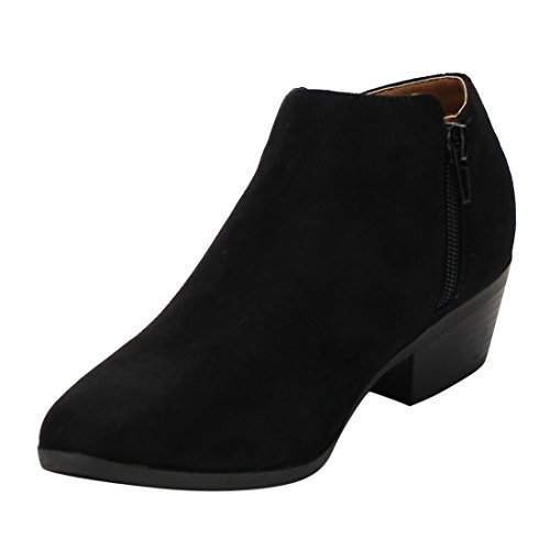 Side Booties Block Zip Women's Marie Bella AE47 Stacked Ankle Black Heel wRqtpxOFng