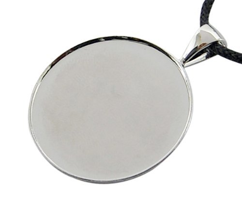 10pc Silver Plated Brass Necklace Pendant Cabochon Frame Setting Trays Blanks (25mm, Silver) (Round Pendant Mounting)