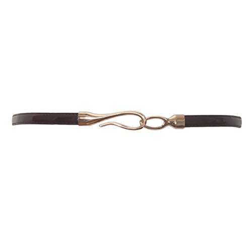 eVogues Plus size Adjustable Hook And Eye Buckle Patent Leather Skinny Belt Brown - One Size Plus ()