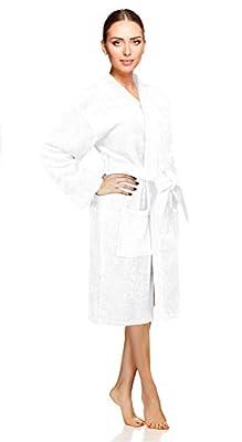 Soft Touch Linen Women's Robe, Turkish Cotton Terry Kimono Spa Bathrobe