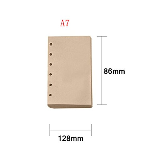 (Gbell 80 Sheets Notebook Refill, Inner A5/A7 Paper Pages Vintage Retro Kraft Refill Paper (B))