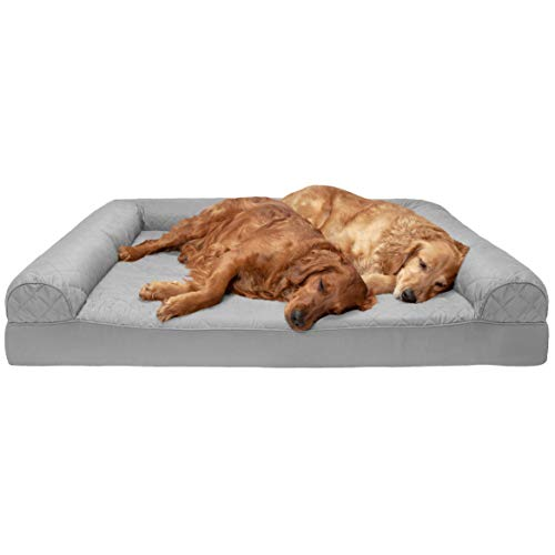 FurHaven Pet Dog Bed | Orthopedic Quilted Sofa-Style Couch Pet Bed for Dogs & Cats, Silver Gray, Jumbo Plus