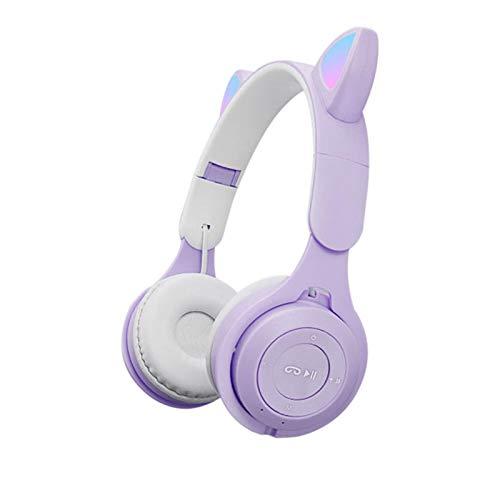 YYDS Cat Ear Wireless Bluetooth Headset, Kids LED Light Up Foldable Headphones, Macaron Bluetooh 5.0 Headphones Over Ear…